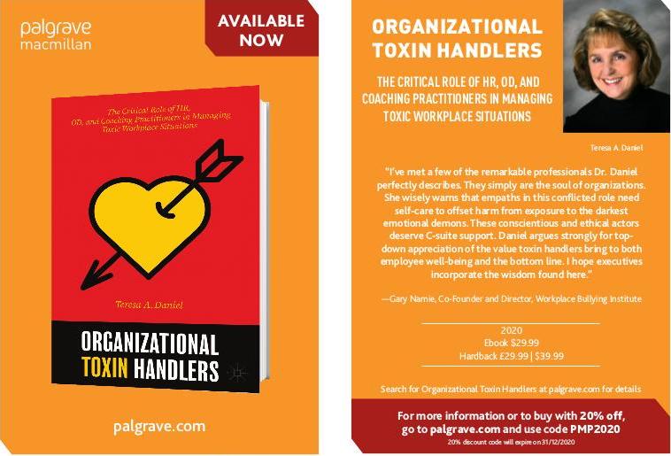 Dr Teresa Daniel's upcoming book Organizational Toxin Handlers, promotion